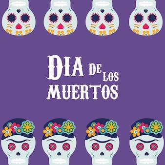 Dia de los muertos poster with skulls frame illustration design