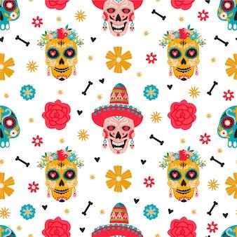 ディアデロスムエルトスのシームレスなパターン。伝統的なメキシコのお祭り。