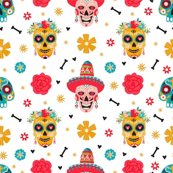 Dia de los muertos seamless pattern. traditional mexican festival.