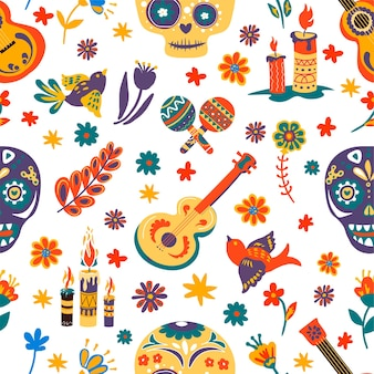 Dia de los muertos seamless pattern with skulls and flowers, floral ornaments and burning candles. maracas and acoustic guitar, flying birds and musical instruments. mexican holiday vector in flat