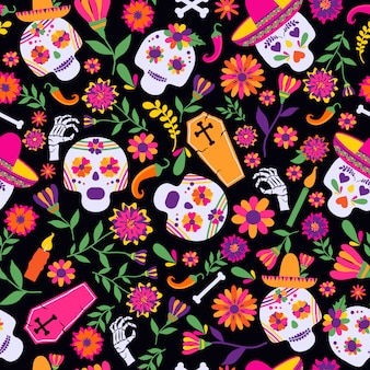 Dia de los muertos seamless vector pattern. the main symbols of the holiday on the dark ba