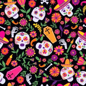 Dia de los muertos бесшовный векторный узор. основные символы праздника на темном ба