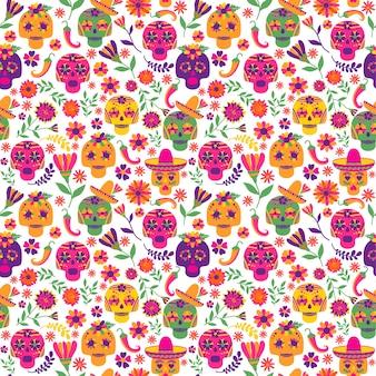 Dia de los muertos seamless vector pattern