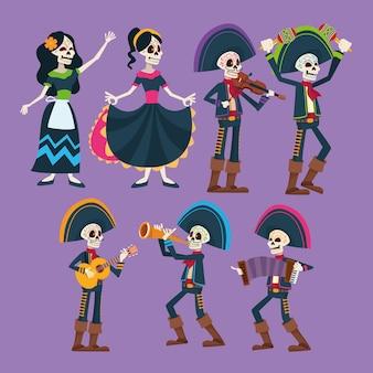 Dia de los muertos, skeletons group characters