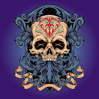 Dia de los muertos 해골 프레임 장식품 벡터 삽화 로고, 마스코트 상품 티셔츠, 스티커 및 라벨 디자인, 포스터, 인사말 카드 광고 비즈니스 회사 또는 브랜드.