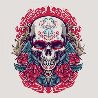 Dia de los muertos skull illustration