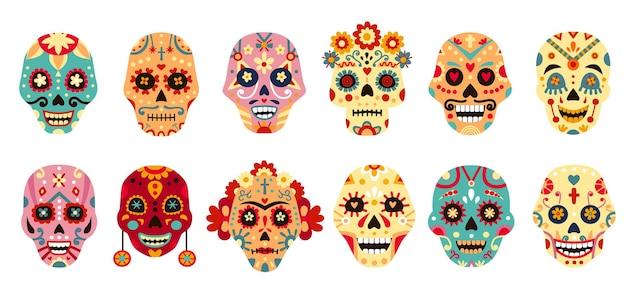 ディアデロスムエルトスの頭蓋骨。花と死んだ装飾的な男性と女性の砂糖の頭蓋骨のメキシコの日。メキシコの休日のスケルトン顔ベクトルセット