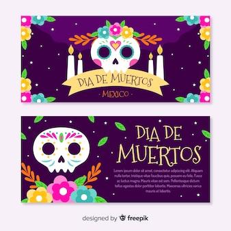 Dia de los muertos skulls with candles