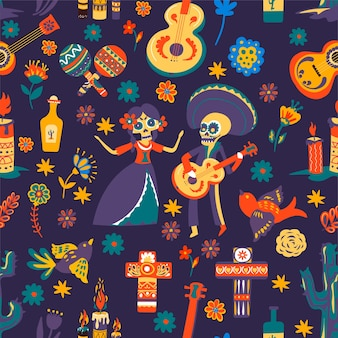 Dia de los muertos, traditional symbols of mexican holiday. celebration of day of the dead, seamless pattern with flowers and crosses, skeletons and acoustic guitars. maracas and tequila, vector