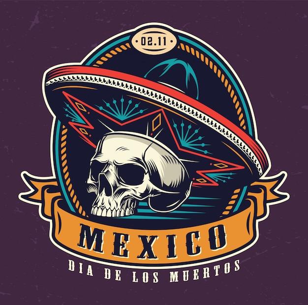 Dia de los muertos vintage emblem