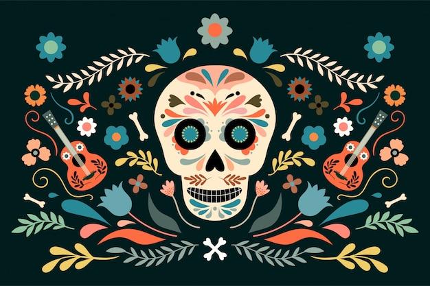 Dia de los muertos、頭蓋骨と花の要素を持つ死者の日の装飾的なポスター