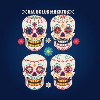 Dia de los muertos набор черепов