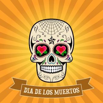 День смерти. dia de los muertos. сахарный череп на старинный фон с баннером.