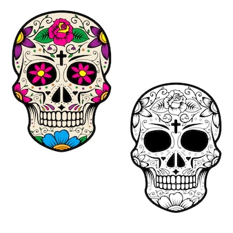 Комплект черепов сахара изолированных на белой предпосылке. день смерти. dia de los muertos.