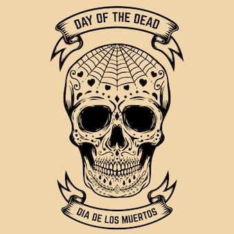 День смерти. dia de los muertos. сахарный череп с цветочным узором. элемент для плаката, открытки. иллюстрация