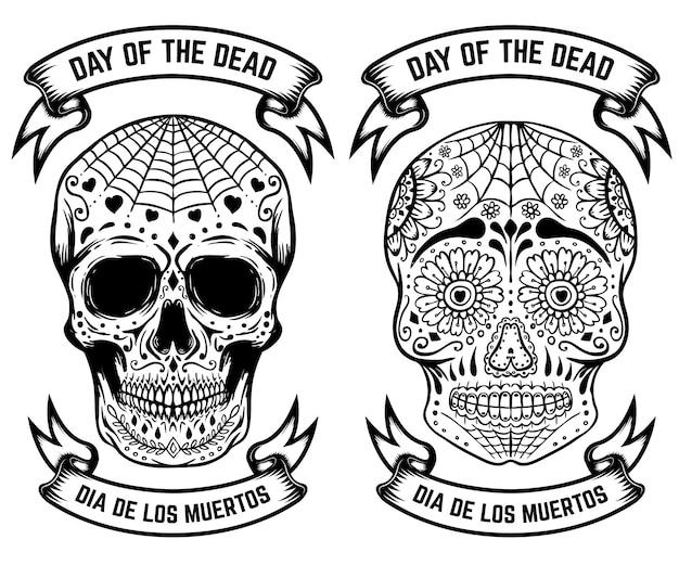 День смерти. dia de los muertos. набор из сахарных черепов. элементы для плаката, открытки. иллюстрация
