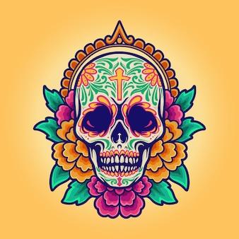 Мексиканский череп синко де майо, dia de los muertos
