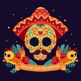 День мертвых, dia de los muertos, с красочными мексиканскими цветами.