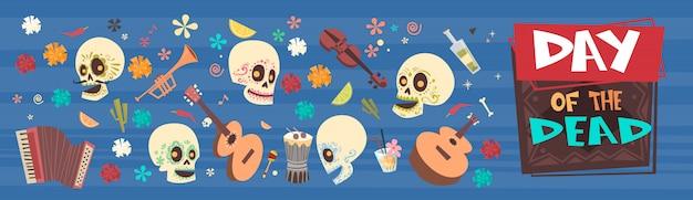 День мертвых традиционный мексиканский хэллоуин dia de los muertos праздничная вечеринка украшение баннер приглашение