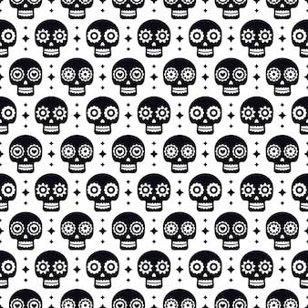 День мертвых бесшовные модели с черепами на белом фоне. традиционный мексиканский дизайн хэллоуина для праздничной вечеринки dia de los muertos. орнамент из мексики.