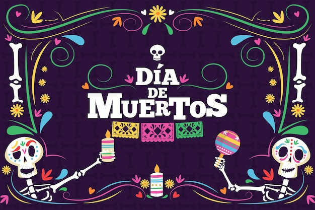 Dia de muertos background in flat design