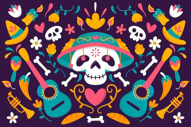 Sfondo dia de muertos in design piatto