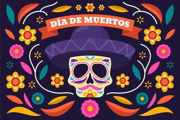 Dia de muertos background in flat design