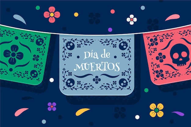Día de muertos background in flat design