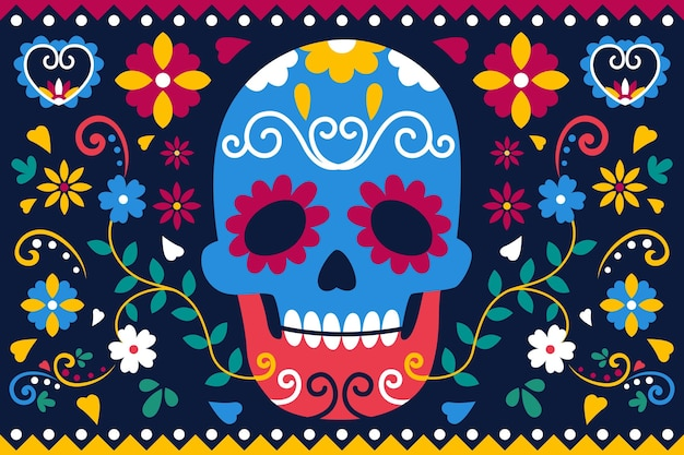 Día de muertos background in flat design