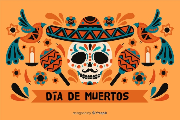 Dia de muertos background and skull with maracas