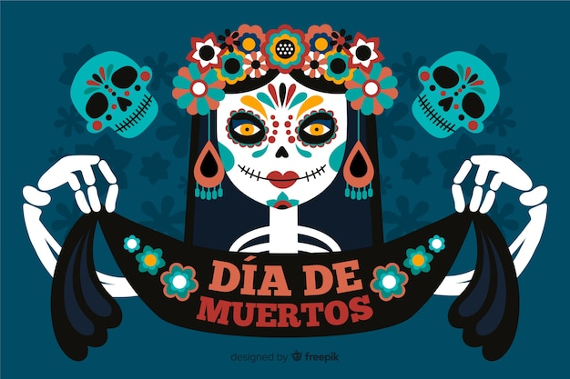 Dia de muertos background with skeleton woman and ribbon