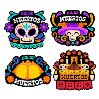 Dia de muertos badge collection in flat desgin
