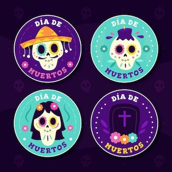 Dia de muertos badge collection in flat design