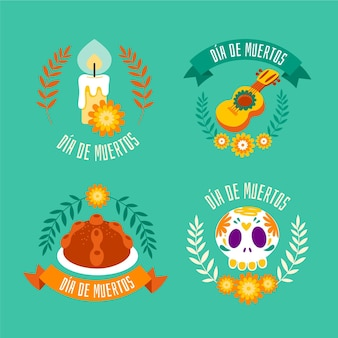 Dia de muertos badge collection in flat design