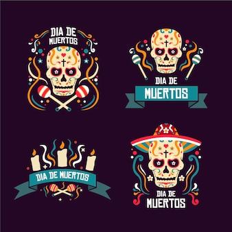 Día de muertos badge collection in flat design