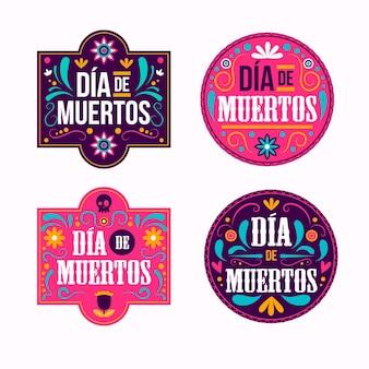 Коллекция значков dia de muertos в плоском дизайне