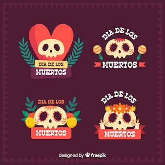 Día de muertos badge collection with mexican skulls