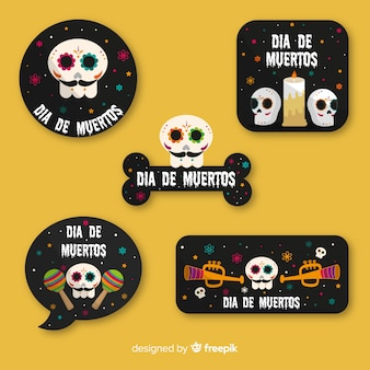 Día de muertos badge collection