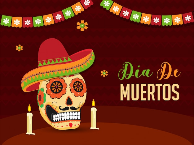 Dia de muertos banner or poster  with illustration of ornate skull or calavera wearing sombrero hat and illuminated candles on brown abstract .