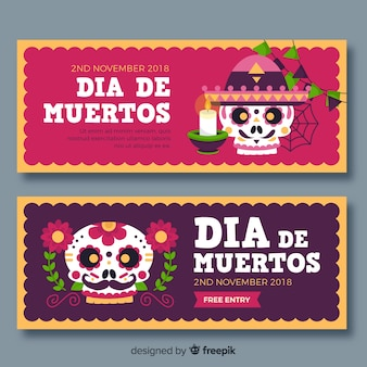 Día de muertos banners concept