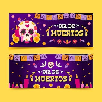 Bandiere di dia de muertos in design piatto