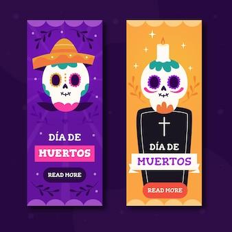 Dia de muertos banners in flat design