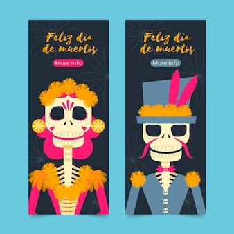Día de muertos banners in flat design