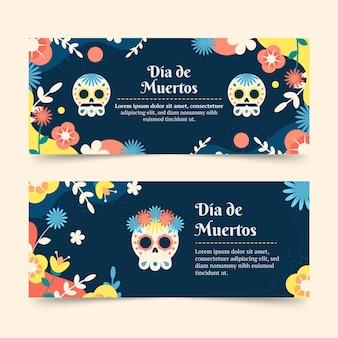 Dia de muertos banners set