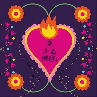 Dia de muertos card with heart flame and flowers