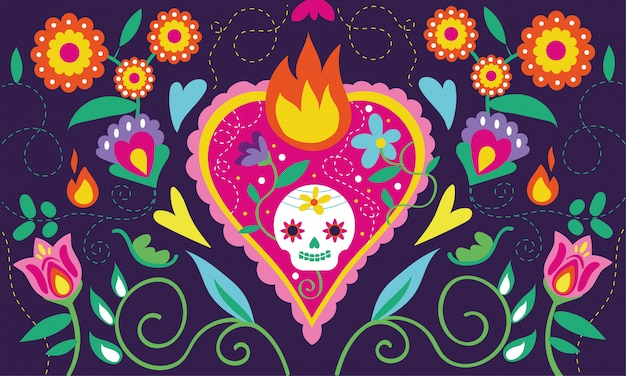Dia de muertos card with heart skull and floral decoration