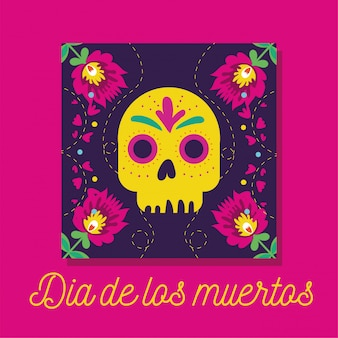 Dia de muertos card with lettering and skull