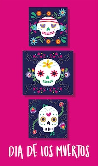Dia de muertos card with lettering and skulls