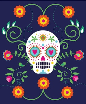 Dia de muertos card with skull and flowers