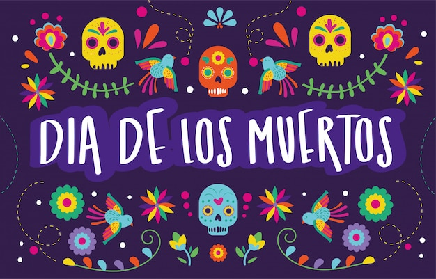 Dia de muertos card with skulls floral decoration